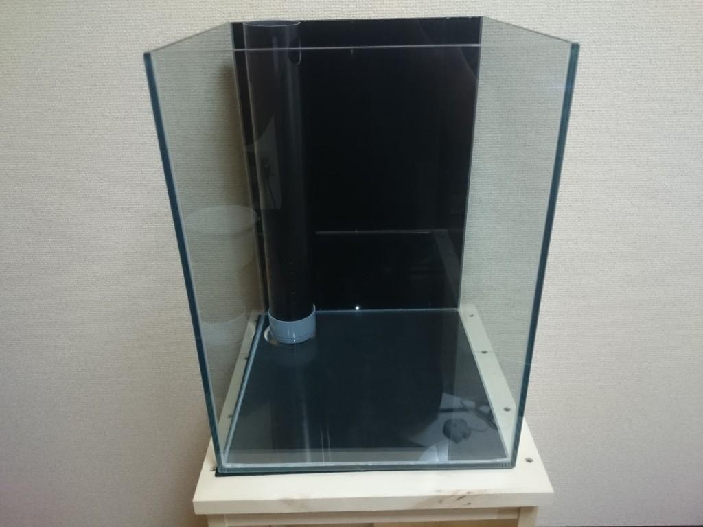 黒いバックスクリーンを貼りつけた30㎝キューブOF水槽