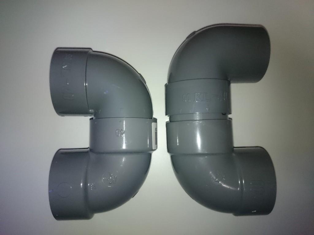 DV継手90度エルボを2つ使った場合と片受けエルボを利用した場合の配管の高さ比較