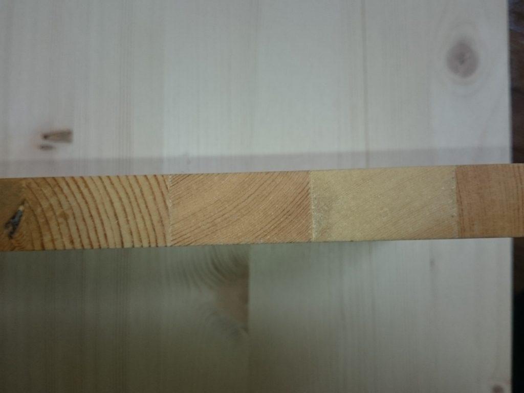 ジェルカラーニス透明クリアー 木口試し塗りの結果