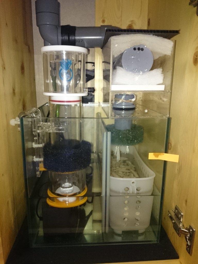 30㎝キューブオーバーフロー水槽にCoral Box(コーラルボックス) S150を設置