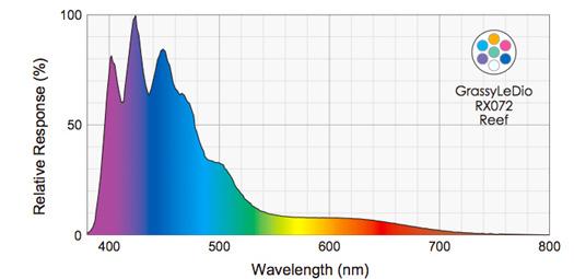 Grassy LeDio RX072 Reef(グラッシーレディオRX072リーフ) 分光スペクトルグラフ